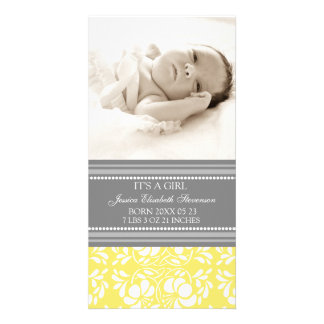 Lemon Grey Template New Baby Birth Announcement Picture Card
