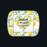 """Lemon Heart Main Squeeze Themed Bridal Shower Candy Tin<br><div class=""""desc"""">Lovely and fun bridal shower designs! Design features a white background with a pattern of lemons and green leaves. In the center is a white square with a heart in the middle. The heart is made up of the same lemon and leaves pattern. In the center of the lemon heart...</div>"""