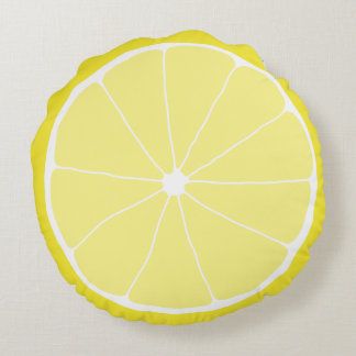 Lemon Home Decor, Meyer Lemon Pillow, Lemon Art Round Pillow