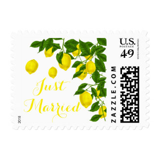 Lemon Just Married Citrus Yellow & Green Wedding Postage
