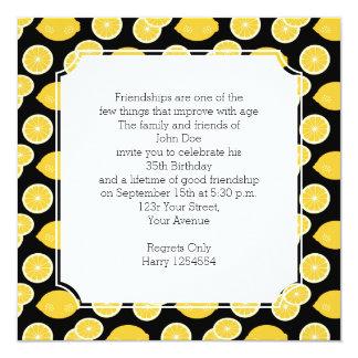 Lemon Kawaii Citrus Birthday Party Card
