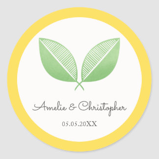 Lemon Leaves Yellow & Green | Personalized Wedding Classic Round Sticker