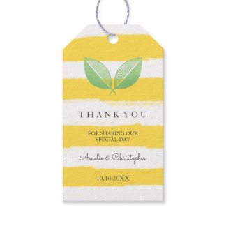 Lemon Leaves Yellow & Green | Wedding Thank You Gift Tags
