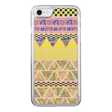 Aztec Themed Lemon & Lilac Funky Boho Tribal Stripes Pattern Carved iPhone 8/7 Case