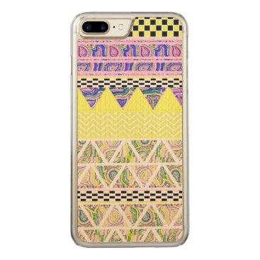 Aztec Themed Lemon & Lilac Funky Boho Tribal Stripes Pattern Carved iPhone 8 Plus/7 Plus Case