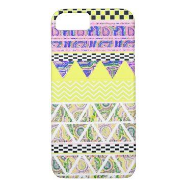Aztec Themed Lemon & Lilac Funky Boho Tribal Stripes Pattern iPhone 8/7 Case