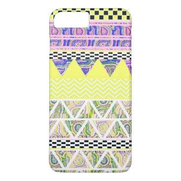 Aztec Themed Lemon & Lilac Funky Boho Tribal Stripes Pattern iPhone 8 Plus/7 Plus Case