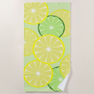 Beach Themed Lemon Lime Beach Pool Towel Vacation Gift