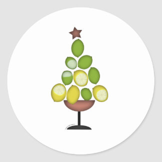 lemon lime Christmas tree with star/martini glass Classic Round Sticker