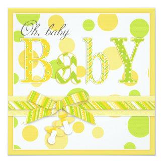 Lemon Lime Dots Baby Shower 5.25x5.25 Square Paper Invitation Card