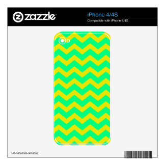 Lemon Lime Green Zigzags Decals For The iPhone 4S