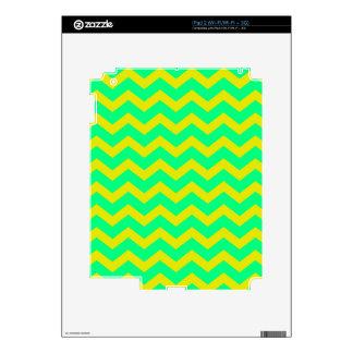 Lemon Lime Green Zigzags iPad 2 Skins
