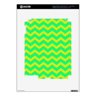 Lemon Lime Green Zigzags Skin For iPad 3