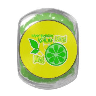 Lemon Lime Happy Birthday Candy Buffet Glass Candy Jar