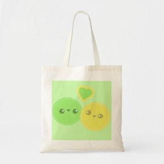 Lemon Lime Heart Kawaii tote bag