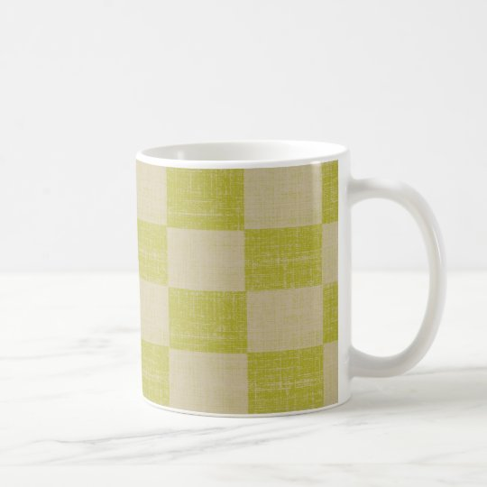 Lemon-Lime Linen Checkered Mug