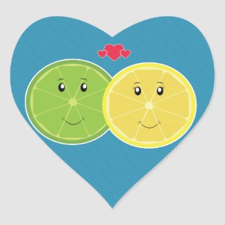 Lemon & Lime Love Kawaii Vector Heart Sticker
