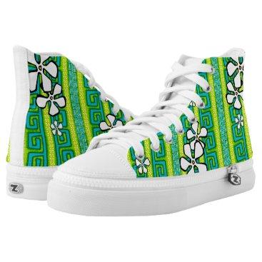 Beach Themed Lemon Lime Luau High-Top Sneakers