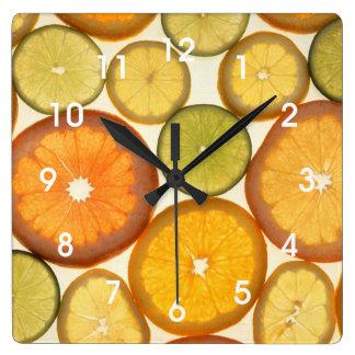Lemon Lime Orange Grapefruit Citrus Fruit Slices Square Wall Clock