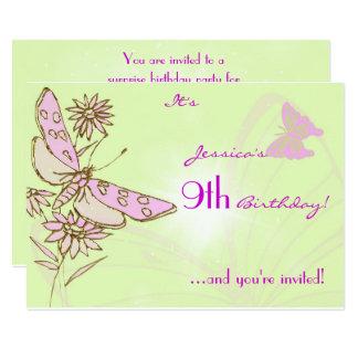 Lemon Lime Pink Butterfly Birthday Invitation Card
