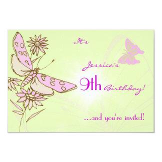 Lemon Lime Pink Butterfly Birthday RSVP Invitation