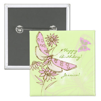 Lemon Lime Pink Butterfly Button