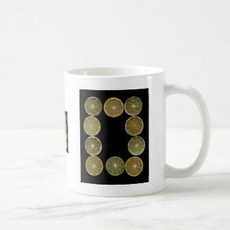 Lemon Lime round slices frame, black back Classic White Coffee Mug