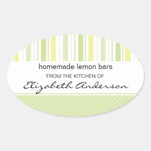 Lemon Lime Stripes Kitchen Label Baking Sticker