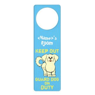 Lemon Maltese Puppy Guard Dog on Duty Door Knob Hangers