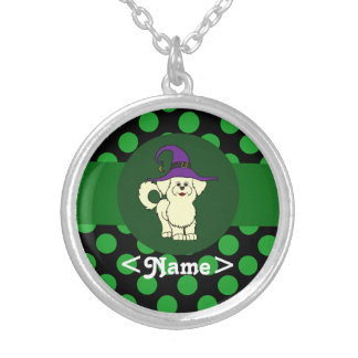 Lemon Maltese Witch with Green Dots Round Pendant Necklace