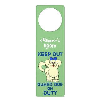 Lemon Maltese with Blue Bow Guard Dog on Duty Door Hangers