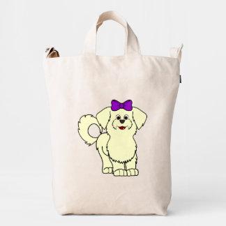 Lemon Maltese with Purple Bow Duck Bag