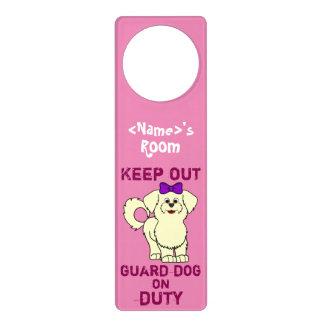 Lemon Maltese with Purple Bow Guard Dog on Duty Door Hangers