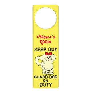 Lemon Maltese with Red Bow Guard Dog on Duty Door Knob Hangers