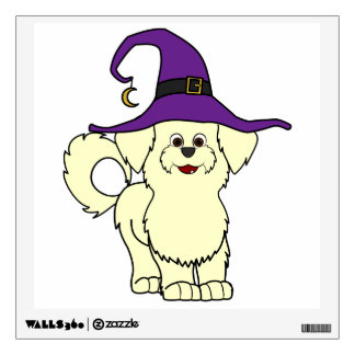 Lemon Maltese with Witch Hat Wall Stickers