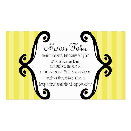 Lemon Meringue Charming Striped Mommy Calling / Business Card