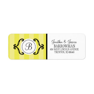 Lemon Meringue Sweet Charming Striped Personalized Label