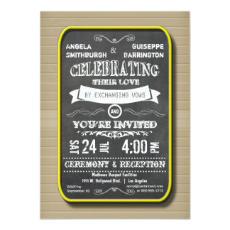 Lemon Neon Chalkboard Ceremony And Reception 4.5x6.25 Paper Invitation Card