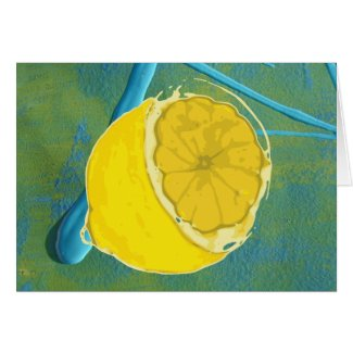 Lemon on Abstract Painting card