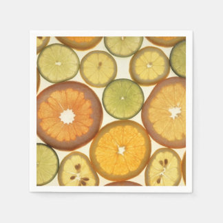 Lemon, Orange and Lime Slices - Yellow Green Paper Napkin