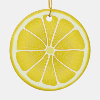 Lemon Double-Sided Ceramic Round Christmas Ornament