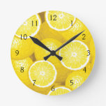 Lemon Pattern 2 Round Clocks