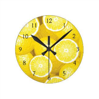 Lemon Pattern 2 Round Wallclock