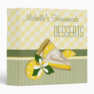 Lemon Pie Dessert Recipe Checks and Stripes Binder