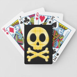 Lemon Plaid Skull Bicycle Playing Cards