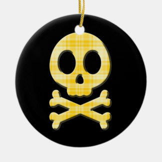 Lemon Plaid Skull Ceramic Ornament