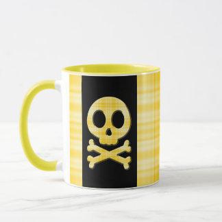 Lemon Plaid Skull Mug