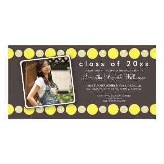 Lemon Polkadots Custom Graduation Announcement Photo Card