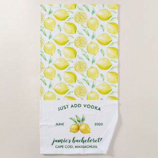 Lemon Print | Citrus Bachelorette Weekend Beach Towel