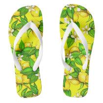 Lemon Print Flip Flops on yellow
